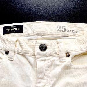 """J. Crew """" toothpick ankle """"corduroy pants"""